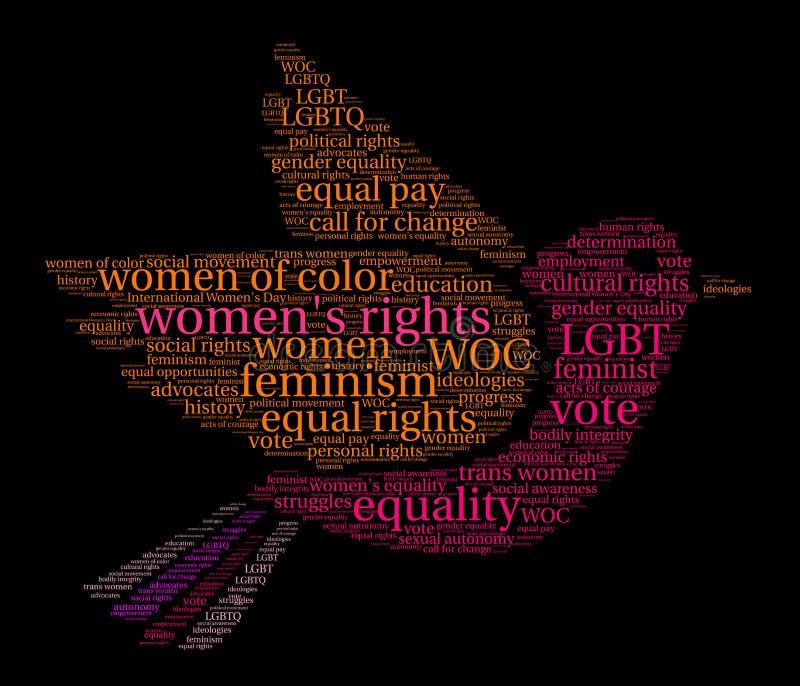 Облако слова прав женщин бесплатная иллюстрация