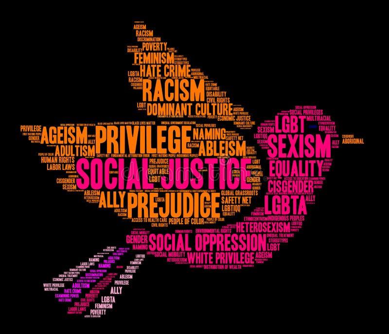 Облако слова социальной справедливости иллюстрация штока