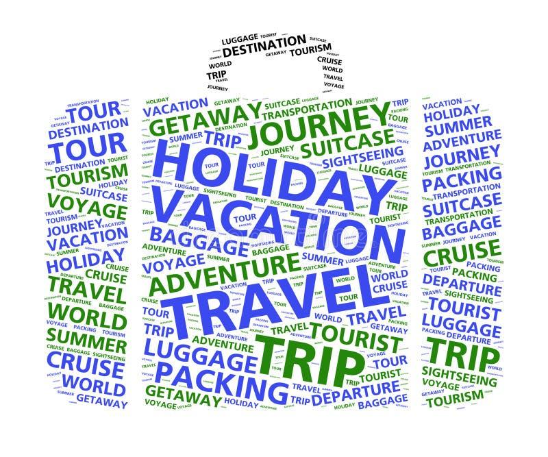 Облако слова чемодана на перемещение и каникулы мира бесплатная иллюстрация