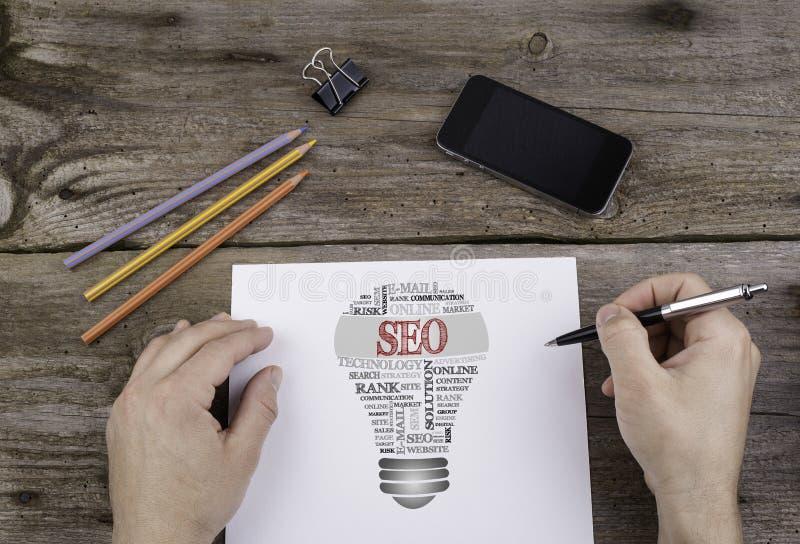Облако слова шарика SEO (оптимизирования поисковой системы) стоковое изображение