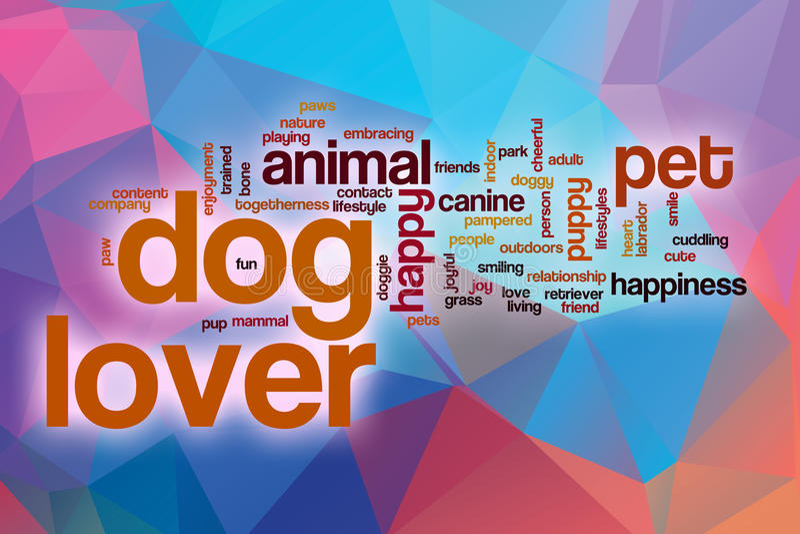 Облако слова любовника собаки с абстрактной предпосылкой иллюстрация вектора