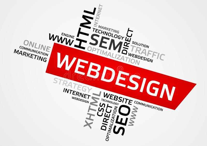 Облако слова WEBDESIGN, облако бирки, векторные графики иллюстрация вектора