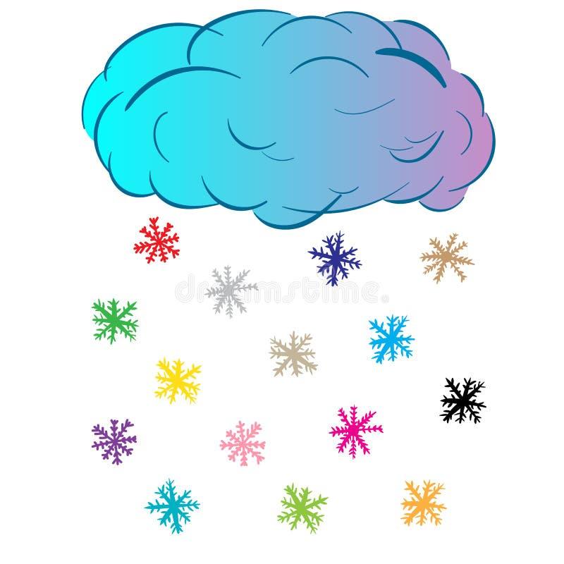 Облако с снежинками цвета иллюстрация штока