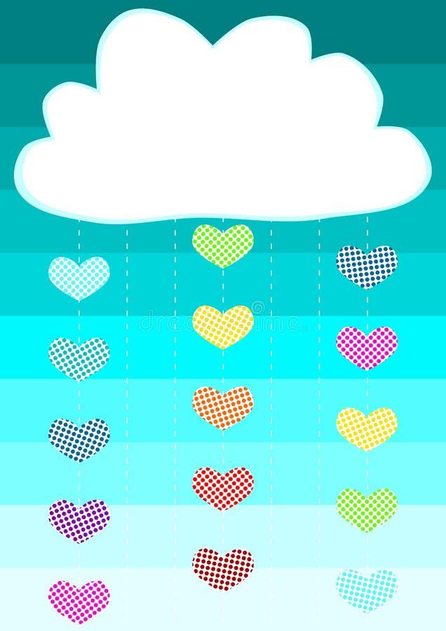 Сердце падает поздравительная открытка облака дождя бесплатная иллюстрация