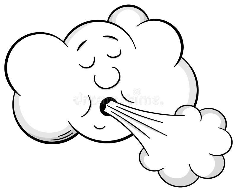 Облако шаржа дует ветер иллюстрация вектора