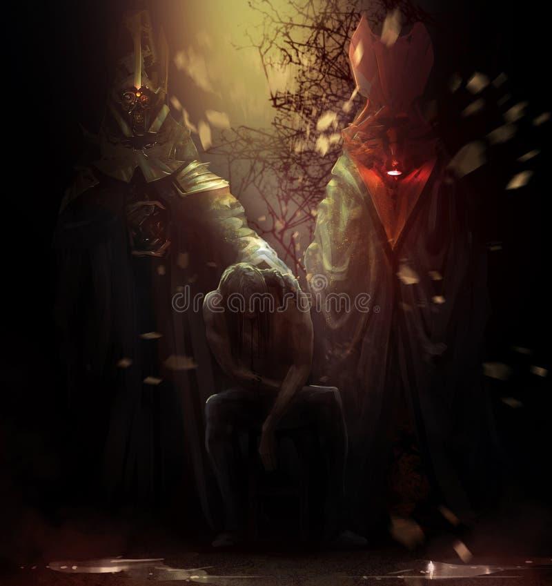 Обладаемый человек с демонами иллюстрация штока