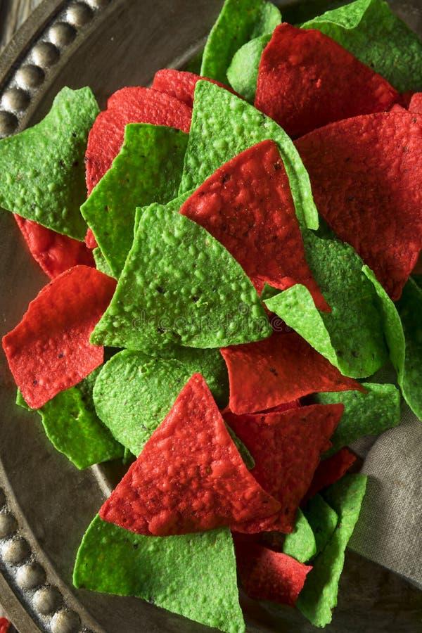 Обломоки праздничного рождества зеленые и красные Tortilla стоковое изображение rf