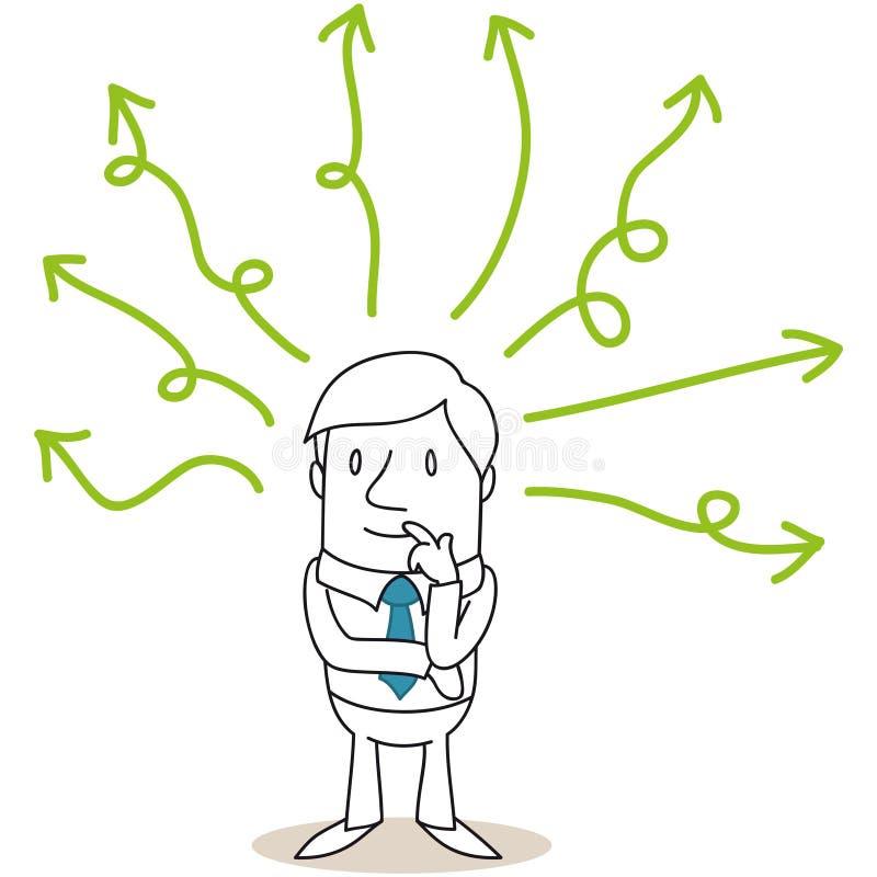 Обдумывать зеленые линии бизнесмена иллюстрация штока