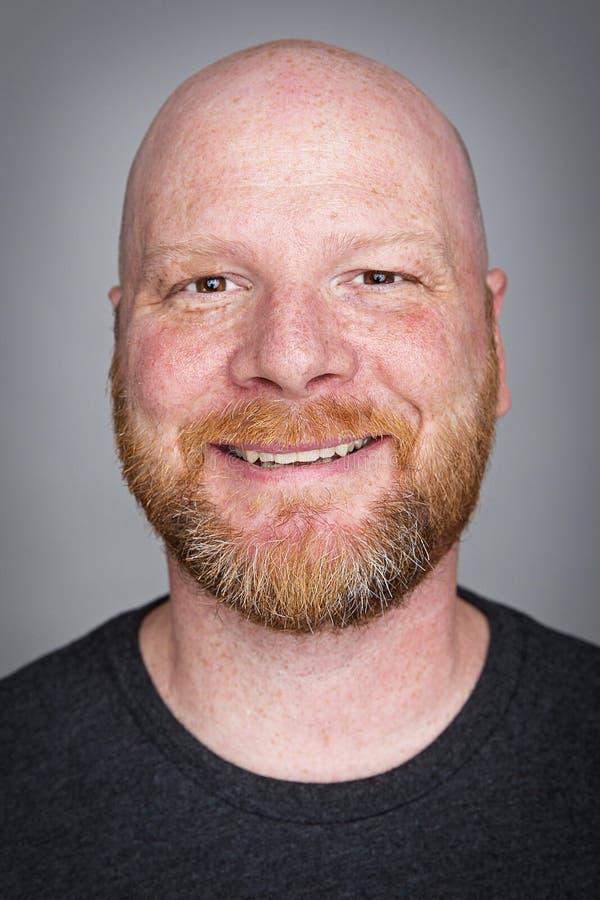 облыселый человек бороды стоковое фото
