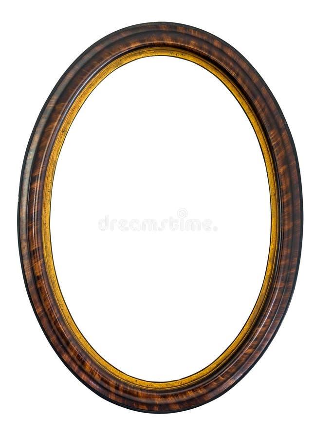 Овальная деревянная декоративная картинная рамка стоковые изображения