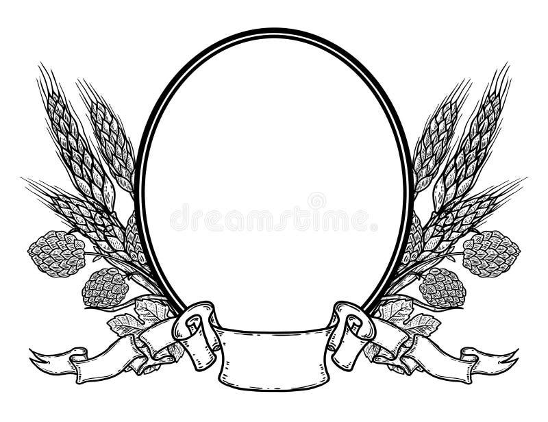 Овальная рамка с хмелем и пшеницей нарисованными рукой Шаблон ярлыка пива иллюстрация вектора