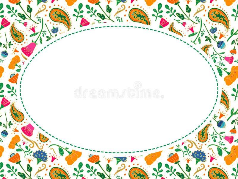 Овальная рамка цветка вектора с местом для вашего текста иллюстрация штока
