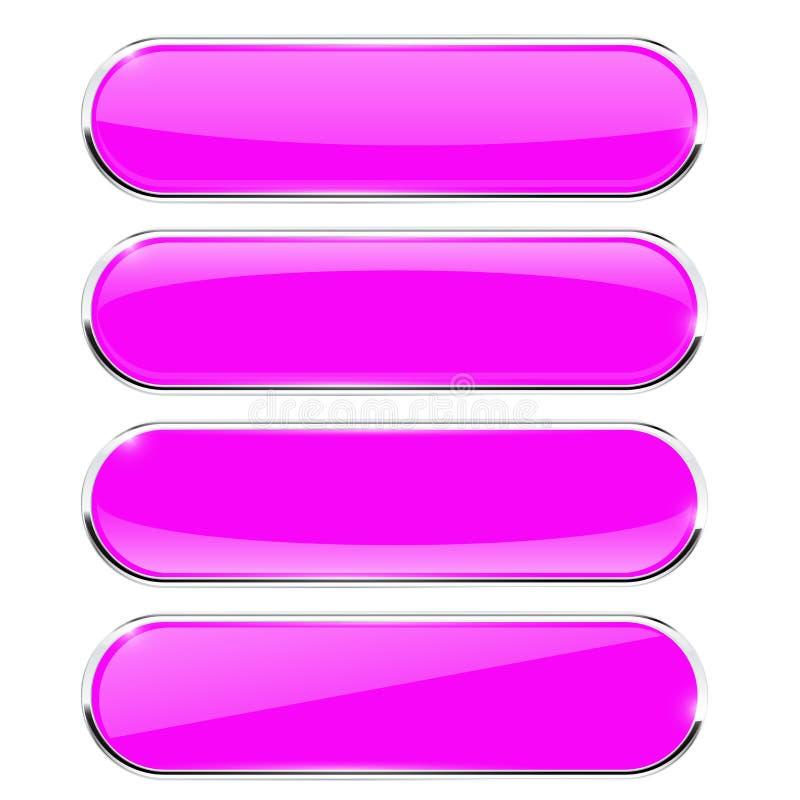 Овальные кнопки Fuchsia значки сети с отражением бесплатная иллюстрация