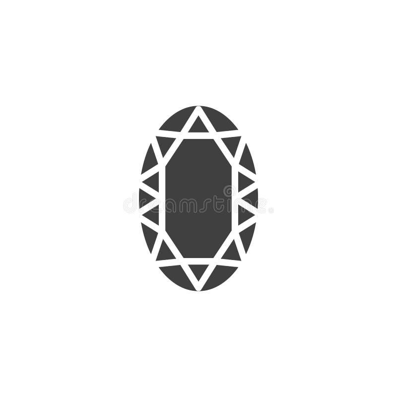 Овальный значок вектора диаманта иллюстрация штока