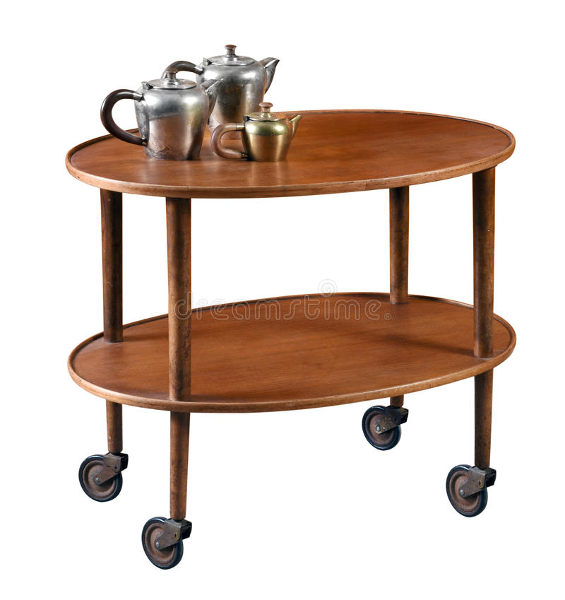 Овальная тележка сервировки mahogany на колесах стоковые изображения rf
