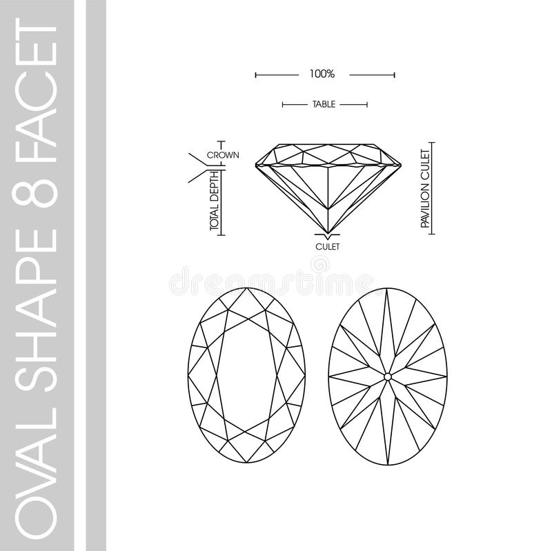 Овальная фасетка формы 8 диаманта бесплатная иллюстрация