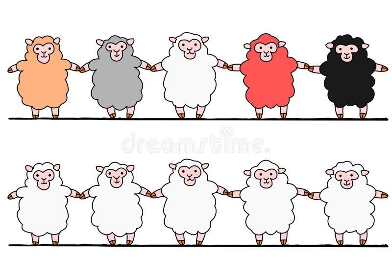 5 овец рука об руку иллюстрация вектора