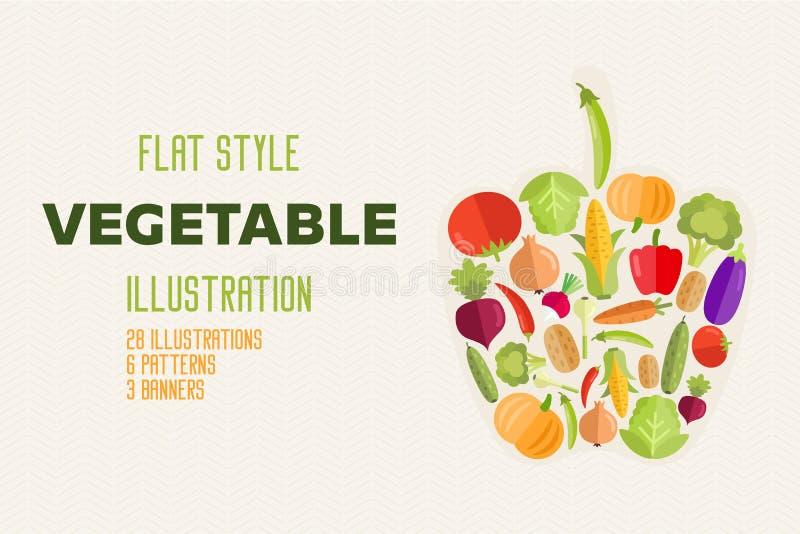 Овощей набор натуральных продуктов вектора плоско здоровый иллюстрация вектора