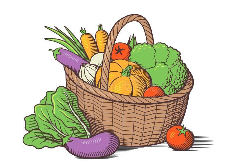 Овощи в корзине иллюстрация штока