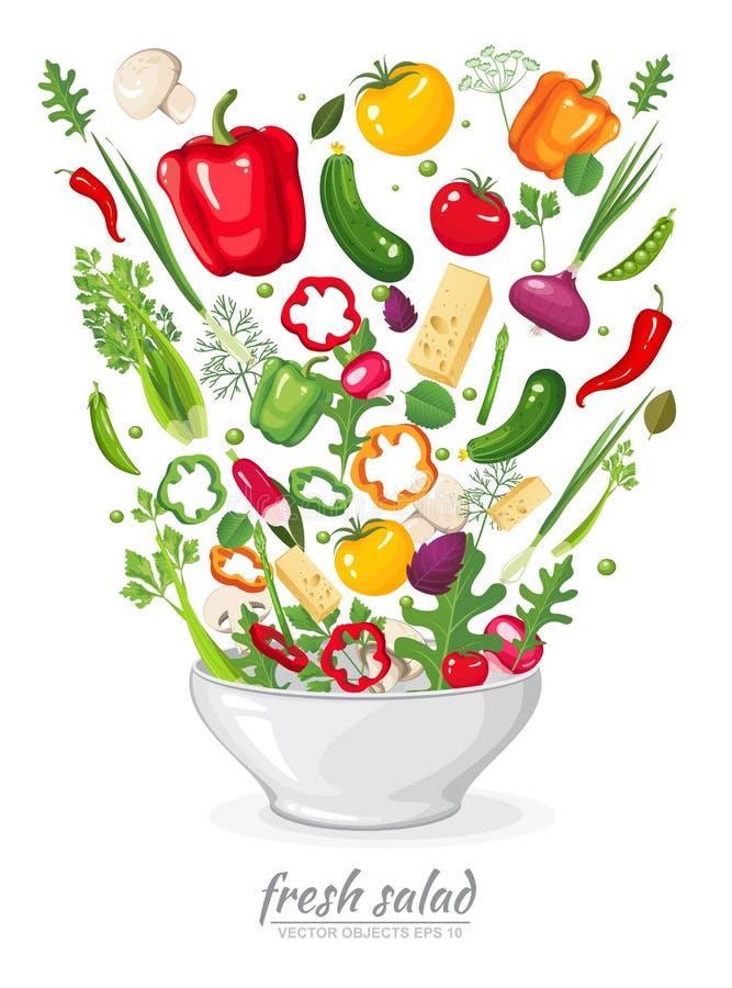 Овощи в салате vegan на белой предпосылке Здоровые натуральные продукты в плите Комплект ингридиентов для варить в плоском стиле иллюстрация вектора