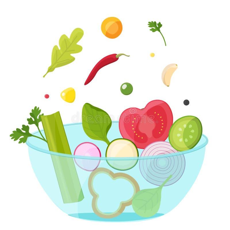 Овощи в стеклянном шаре Здоровая концепция еды бесплатная иллюстрация
