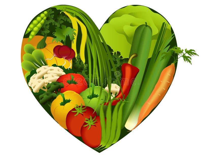Овощи в форме сердца иллюстрация вектора