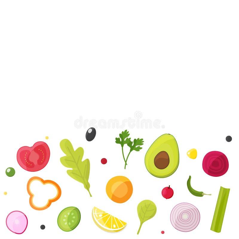 Овощи для салата, здоровой еды, вегетарианской концепции рынка бесплатная иллюстрация