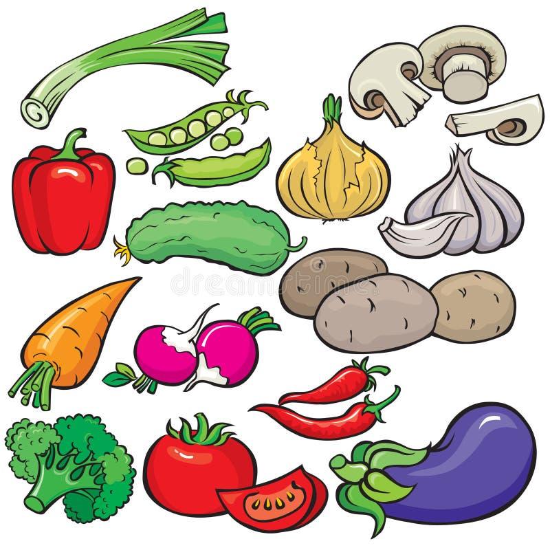 овощи иконы установленные иллюстрация вектора