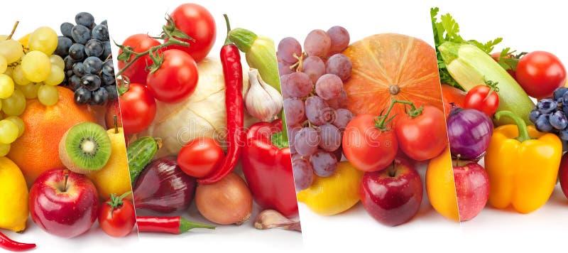 Овощи и плодоовощи панорамного собрания свежие изолированные на whi стоковое изображение rf