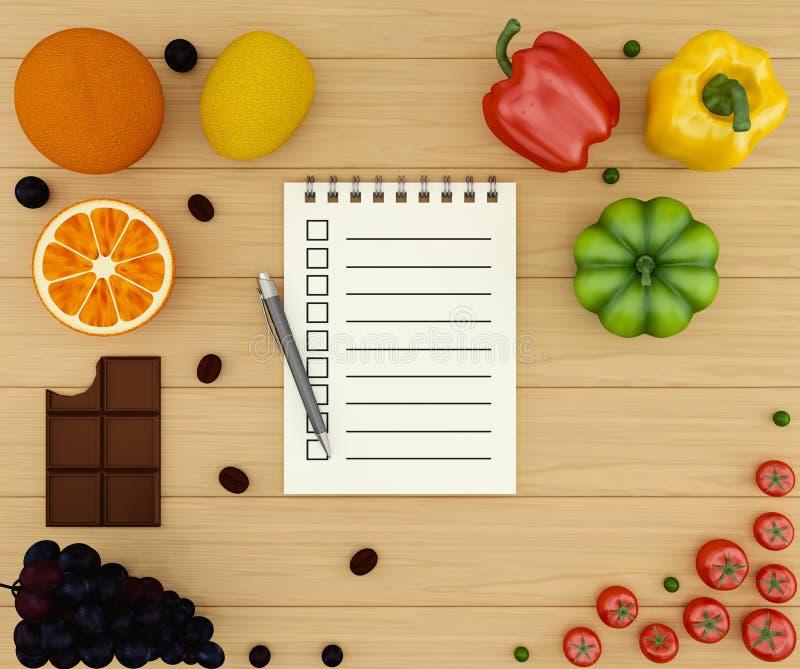 Овощи и плодоовощ списка покупок различные с тетрадью с пустыми страницами для записи вашего текста иллюстрация штока