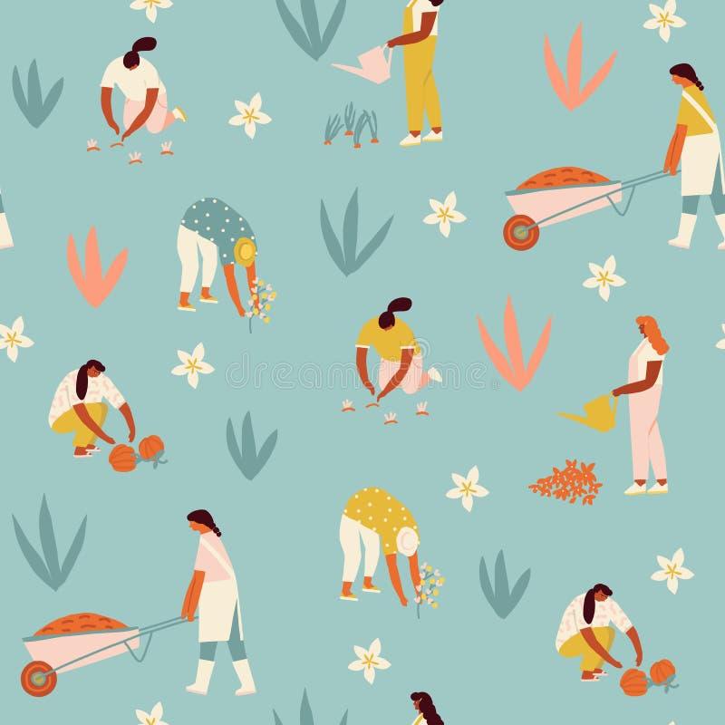 Овощи и цветки девушки мультфильма садовника фермера растя на иллюстрации фермы в векторе стоковая фотография rf