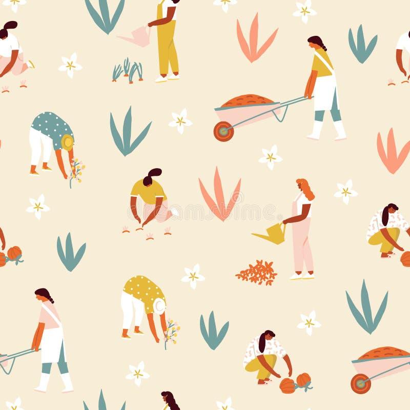 Овощи и цветки девушки мультфильма садовника фермера растя на иллюстрации фермы в векторе стоковые изображения