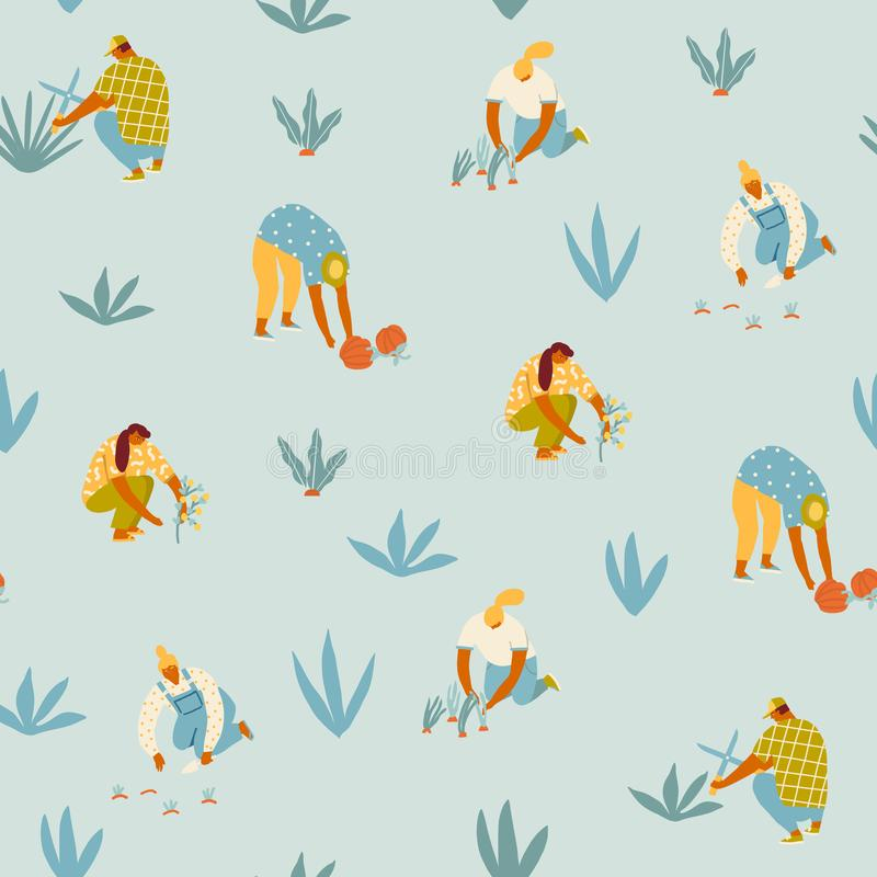 Овощи и цветки девушки мультфильма садовника фермера растя на иллюстрации фермы в векторе стоковое изображение rf
