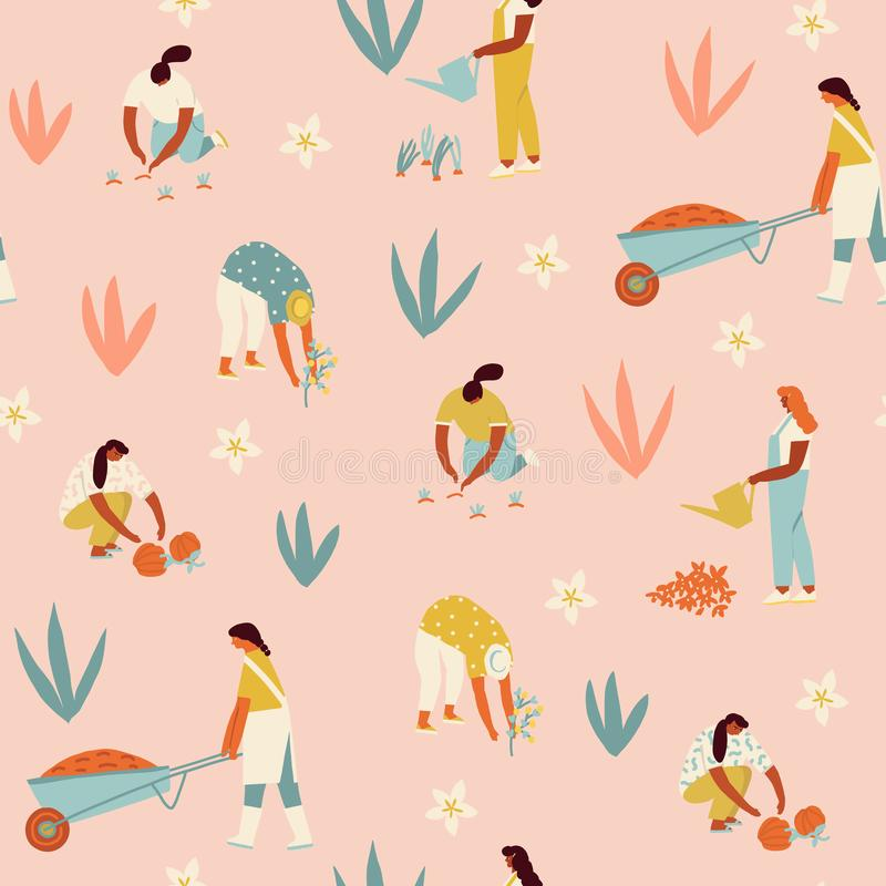 Овощи и цветки девушки мультфильма садовника фермера растя на иллюстрации фермы в векторе стоковые фото