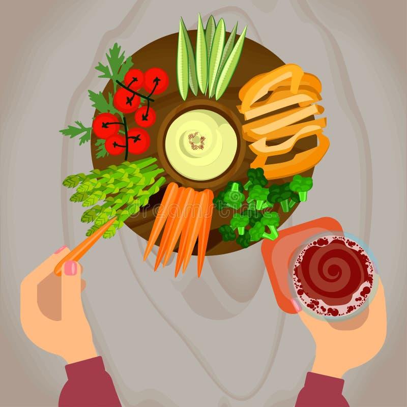Овощи и hummus с пивом иллюстрация вектора