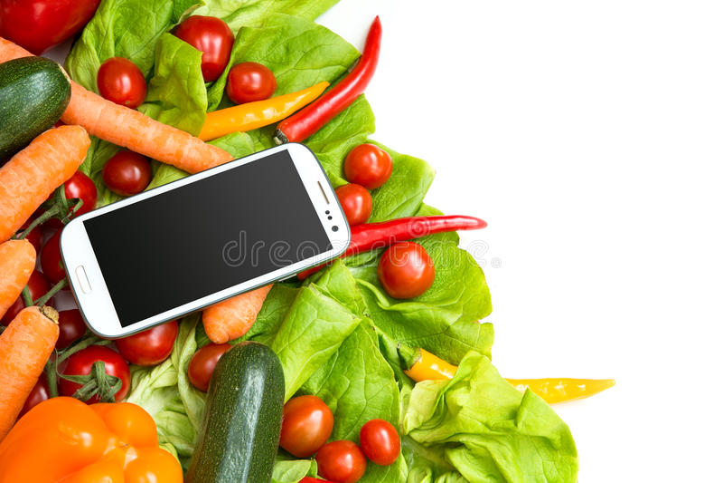 Download Овощи и Smartphone стоковое фото. изображение насчитывающей свеже - 40584430