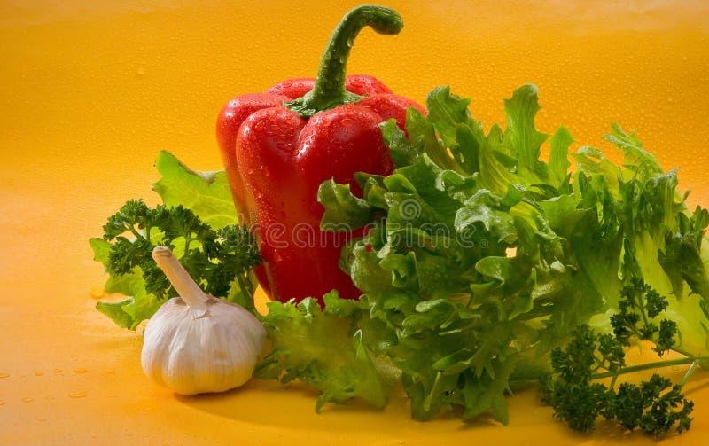 Овощи - красный болгарский перец, паприка, чеснок, салат стоковые изображения