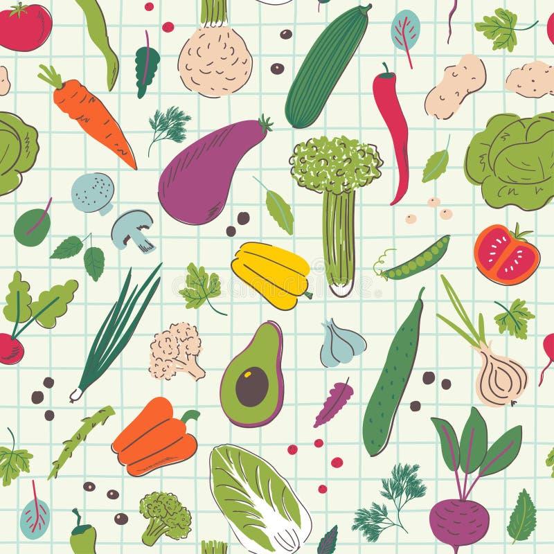 Овощи мультфильма вручают притяжке безшовную картину иллюстрация штока