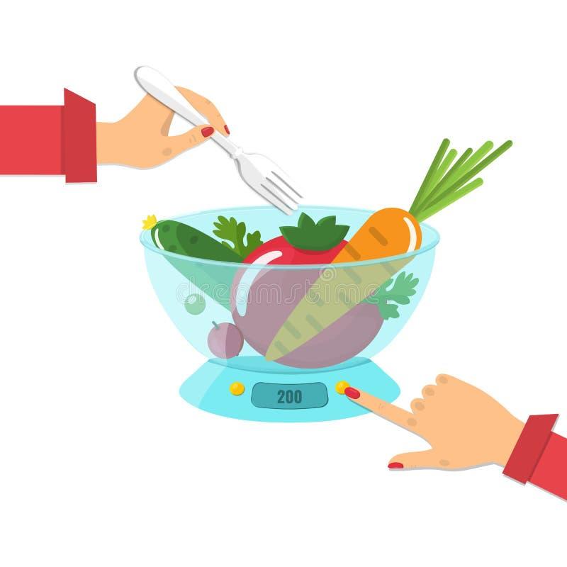 Овощи на масштабах кухни диетпитание принципиальной схемы бесплатная иллюстрация