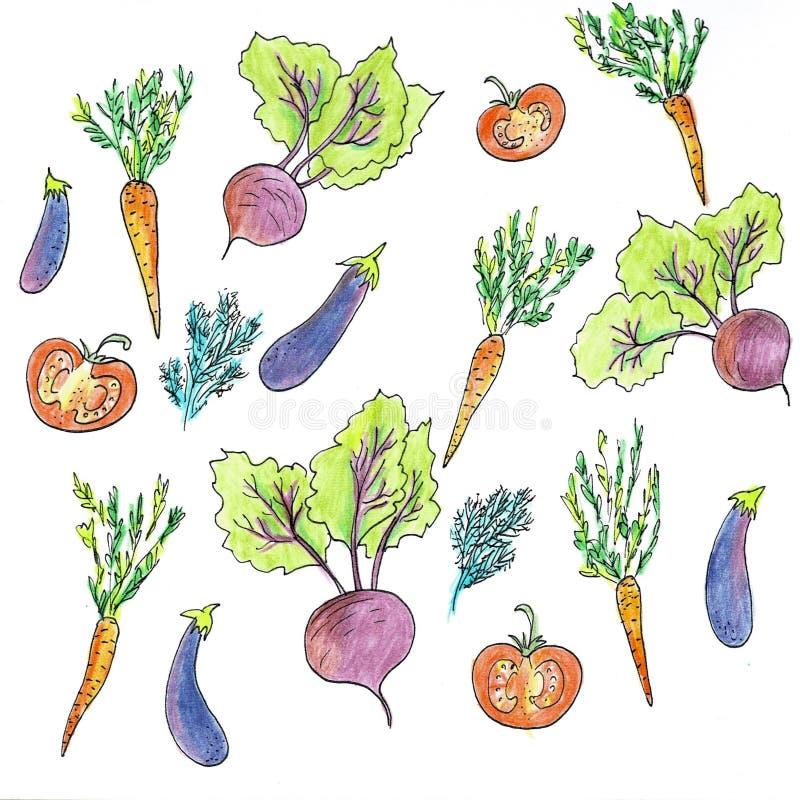 Овощи округляют состав Линейный график Предпосылка овощей r E r иллюстрация вектора
