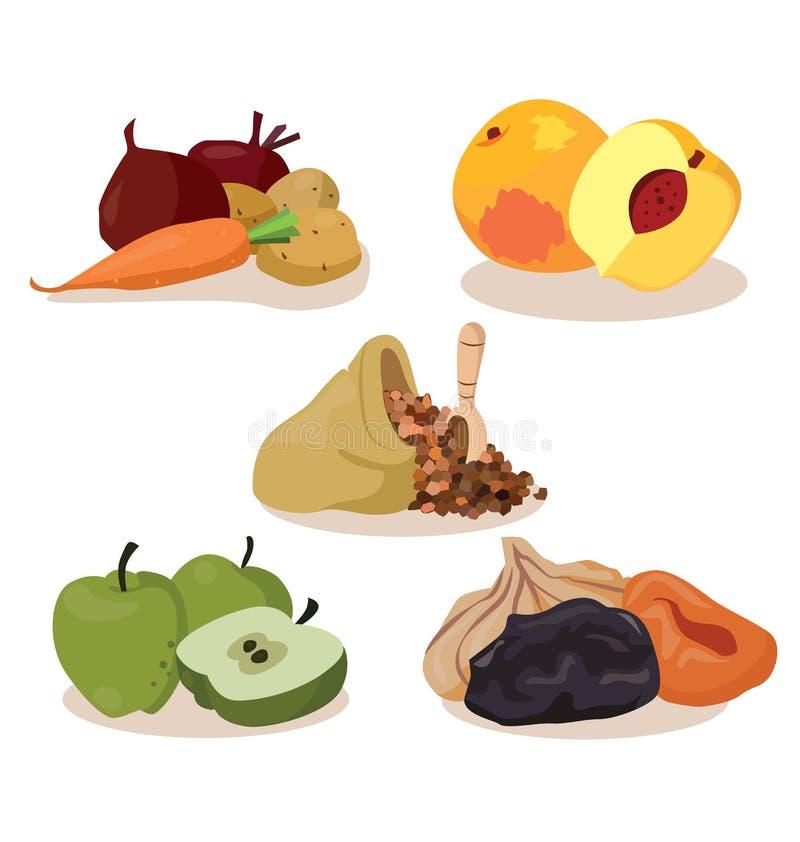 Овощи, персики, хлопья, яблоки, сухофрукт бесплатная иллюстрация
