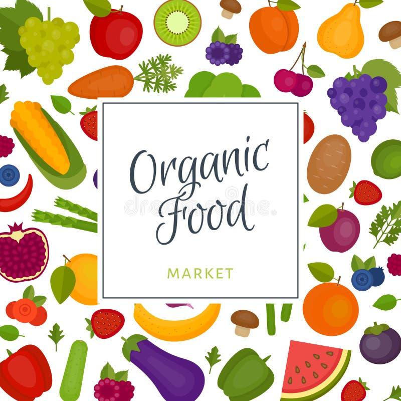 овощи плодоовощей предпосылки Органическая и здоровая еда плоско иллюстрация вектора