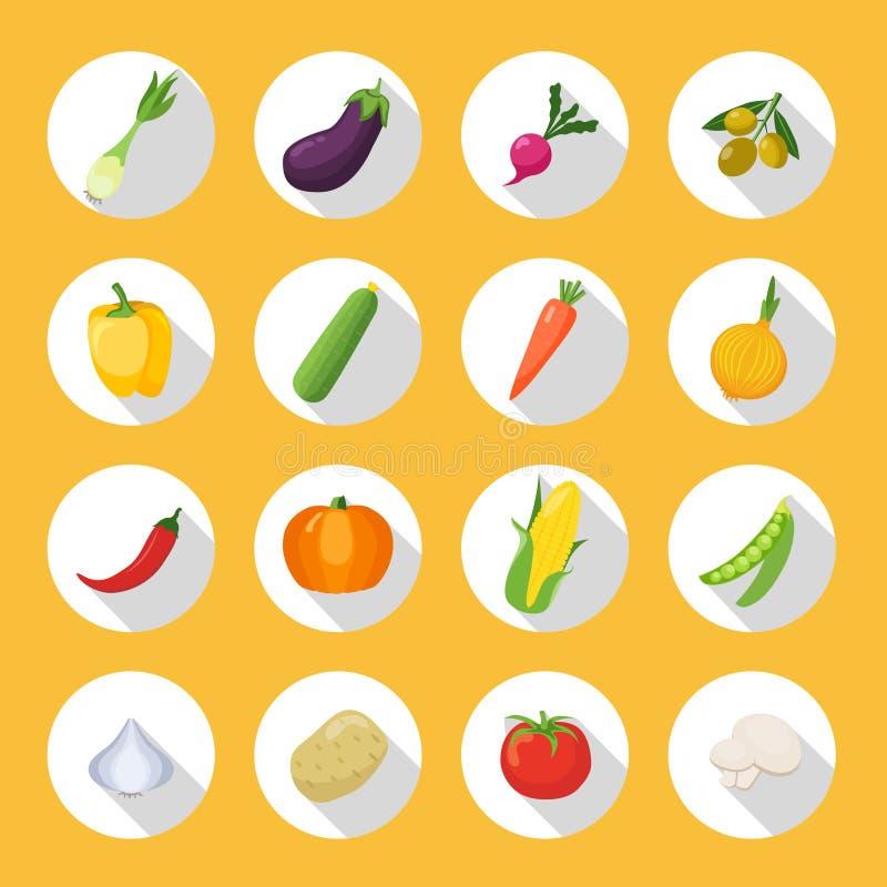 Овощи покрасили комплект квартиры значка иллюстрация вектора