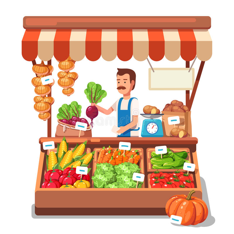 Овощи продавать фермера местного рынка иллюстрация вектора