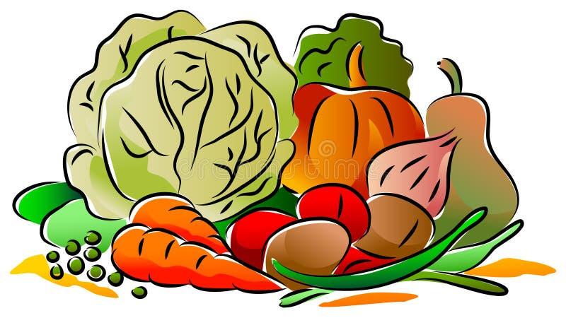 овощи продуктов свежего рынка земледелия иллюстрация вектора