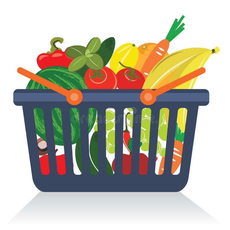 овощи плодоовощей корзины иллюстрация вектора