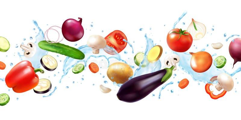 Овощи с водяным составом иллюстрация вектора