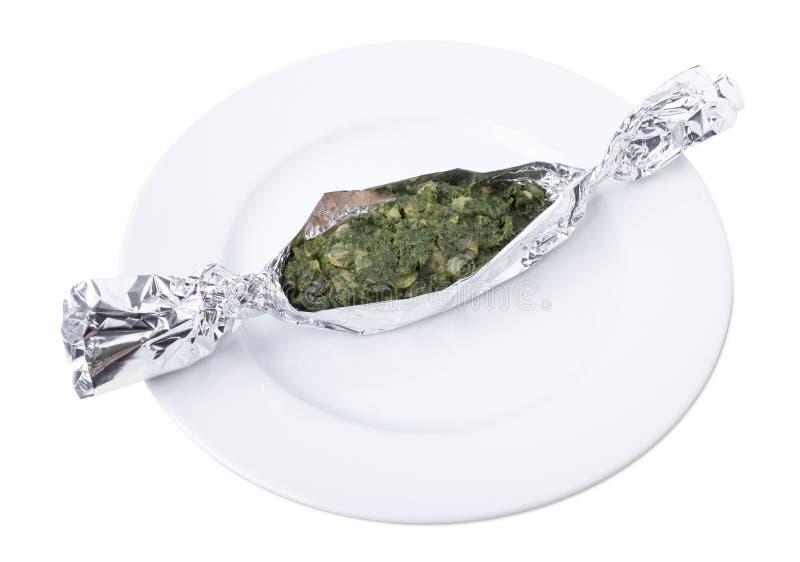 Овощи с семгами испеченными в фольге стоковое изображение