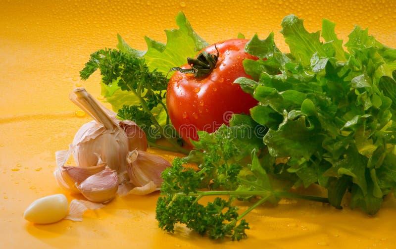 Овощи - томат, чеснок, зеленый салат стоковое фото rf