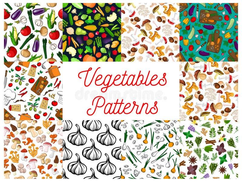 Овощи, травы, установленные картины грибов безшовные иллюстрация штока